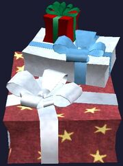 Stack of prefabricated presents (Visible)