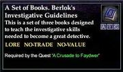 A Set of Books. Berlok's Investigative Guidelines