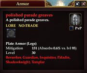 Polished parade greaves