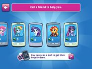 "MLPEG app Rainbow Dash, Rarity, Sunset Shimmer, and Twilight Sparkle ""Call a Friend"" options"