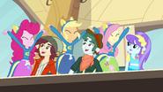 Pinkie Pie, Applejack, and Fluttershy cheering EG