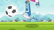 Rainbow Dash kicking a ball down the field EG