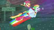 Rainbow Dash flying with Scootaloo EG