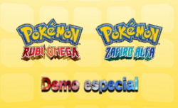 Carátula de la Demo especial de Pokémon Rubí Omega y Pokémon Zafiro Alfa