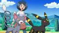 Casilda junto a sus Pokémon.
