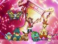 May/Aura junto a sus Pokémon.