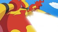 EP601 Magmortar activando Cuerpo llama contra Pikachu