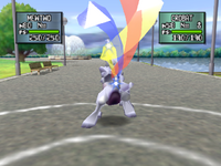 Mewtwo usando Triataque en Pokemon Stadium 2
