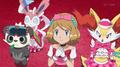 Serena (anime) junto a sus Pokémon.