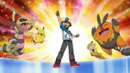 EP741 Ash junto a sus Pokémon festejando la victoria del Gimnasio Teja