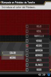 Función clasificar Pokémon por color en N2B2