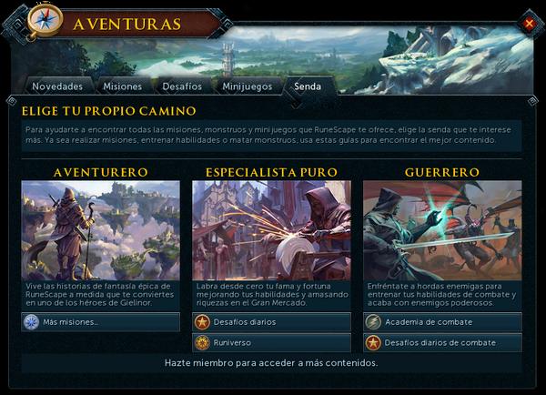 "Interfaz ""Senda"" de Aventuras."