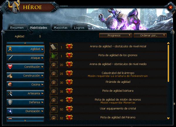 "Interfaz ""Habilidades"" de Héroes."