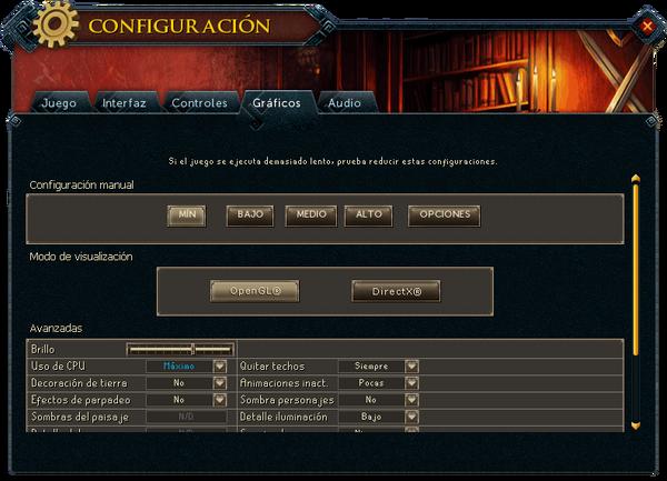 """Interfaz """"Gráficos"""" de Configuración."""