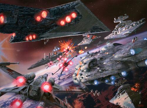 Una flota Imperial y una flota Rebelde se baten una contra la otra por el control de un planeta.