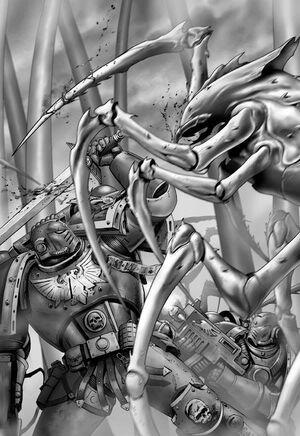 Hijos del Emperador luchando en Muerte contra Megarácnidos.jpg