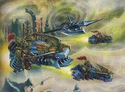 Imperio custodios motocicletas ataque mundo astronave.jpg