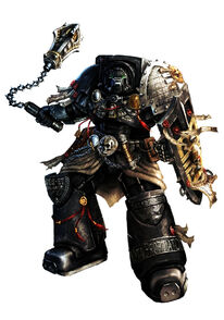 Guardianes de la Muerte Caballero Guardian Alric Escudo Negro Armadura de Exterminador Ordo Xenos Wikihammer