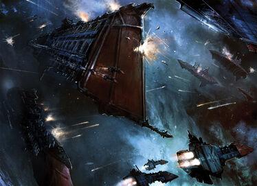 Batalla Naval Flota Imperial Fuerzas del Caos Crucero de Batalla Clase Caliz Crucero Pesado Devastacion Wikihammer