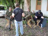 Expendables stuntmen Henry Kingi, Rock Galotti, Eddie J. Fernandez & Justin Riemer on-set
