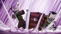Rala attacks Natsu with his hammer