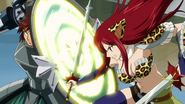 Dan parrying Erza's attack with his Ricochet