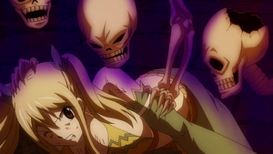 Lucy attacked by skeletons