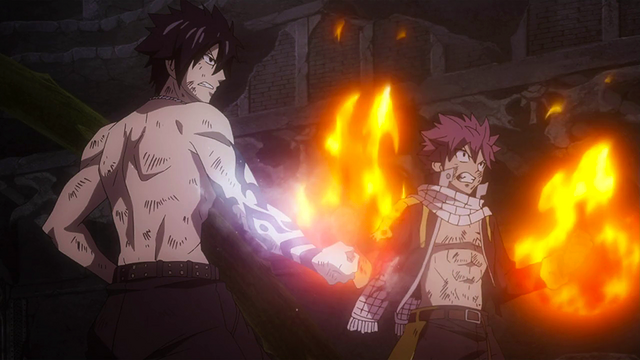 File:Natsu and Gray ready to face Etherious Mard Geer.png