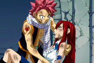Injured Erza tells Natsu that he has to save Lucy