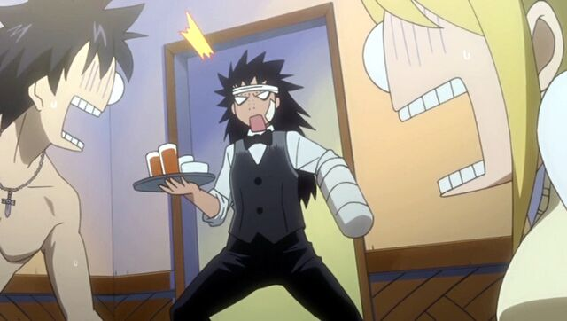 File:Fairy Academy - Gajeel as a karaoke waiter.jpg