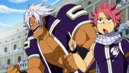 Elfman and Natsu support Gray