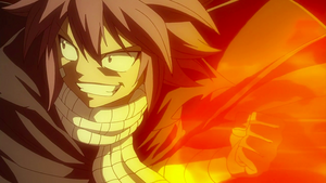 Natsu attacks the Mages