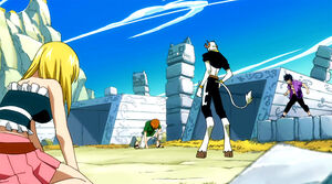 Lucy, Gray and Loke struggle against Capricorn