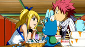 Lucy treating Natsu and Happy to dinner