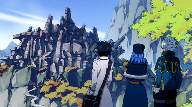 File:Gray, Lyon and Juvia reached the ruins.png