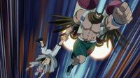 Fukuro grabs Natsu by the leg