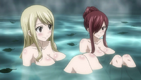 Erza and Lucy in hot springs
