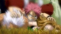 Natsu Saving Elfman and Evergreeen