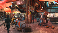 Diamond City market centre Halloween style FO4