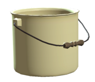 Unused enamel bucket