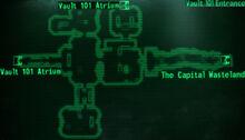 Vault 101 entrance loc map
