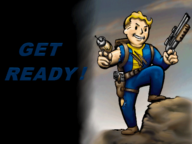 Vault Boy With Gun Vault Boy in a Fallout Loading