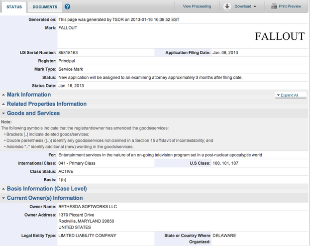 Fallout TV Trademark Registration