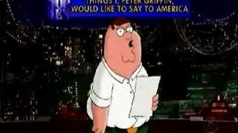 David Letterman - The Top 10 Things Peter Griffin Would Like To Say To America