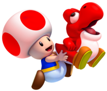 Toad and Fire Baby Yoshi