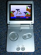 Worms Advance runing in the GBA SP