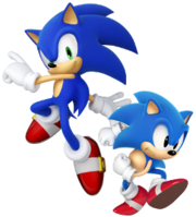 Modern Sonic and Classic Sonic