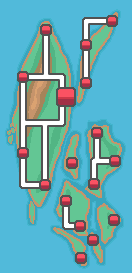 Henry Islands with cities and roads