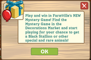 Mystery Game 1st Pop Up Notice