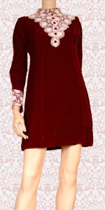 Red velvet mini dress